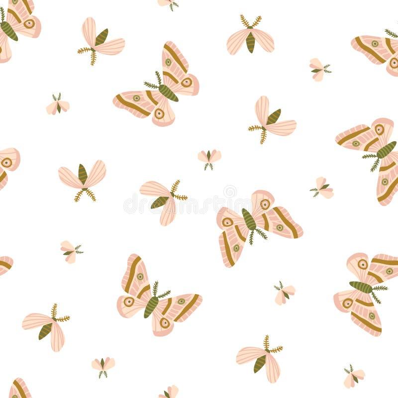 Modèle sans couture avec les mites et le papillon de nuit sur le fond blanc Belle copie romantique Conception légère de tissu illustration stock