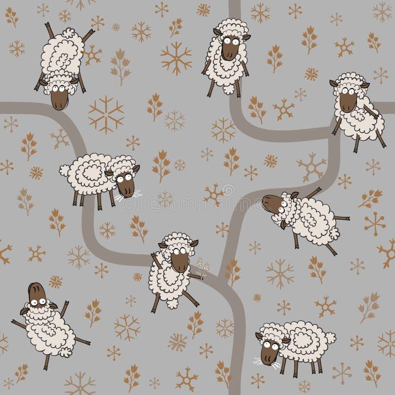 Modèle sans couture avec les moutons et les flocons de neige drôles de bande dessinée illustration libre de droits
