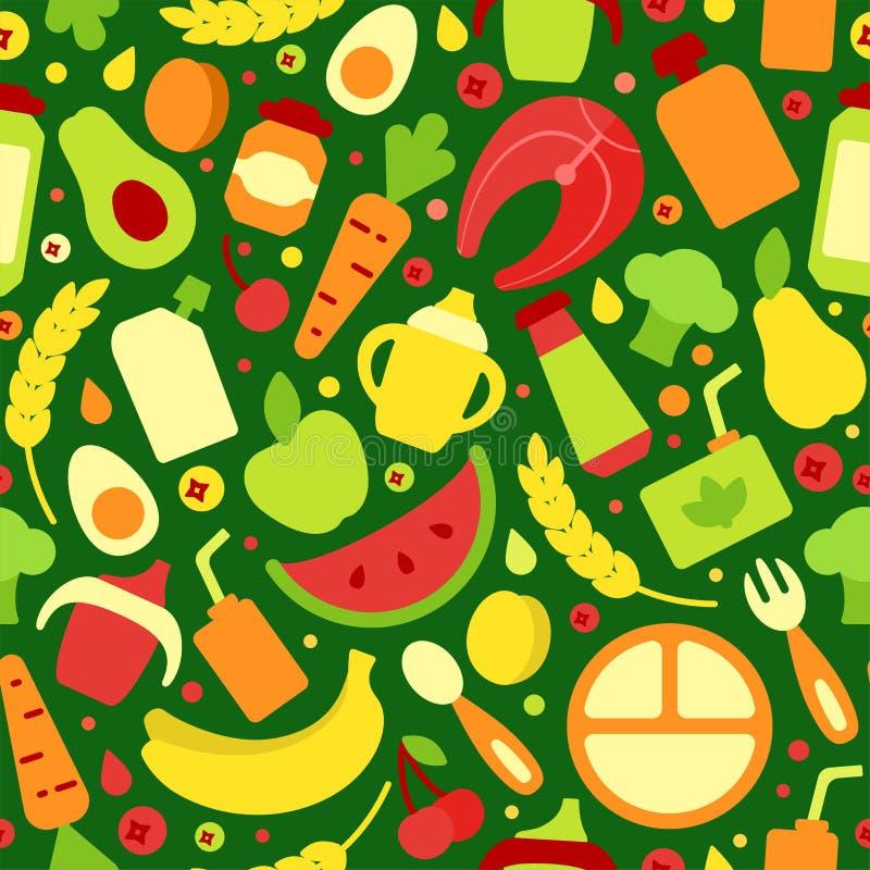 Modèle sans couture avec les objets multicolores de nourriture d'enfants illustration stock