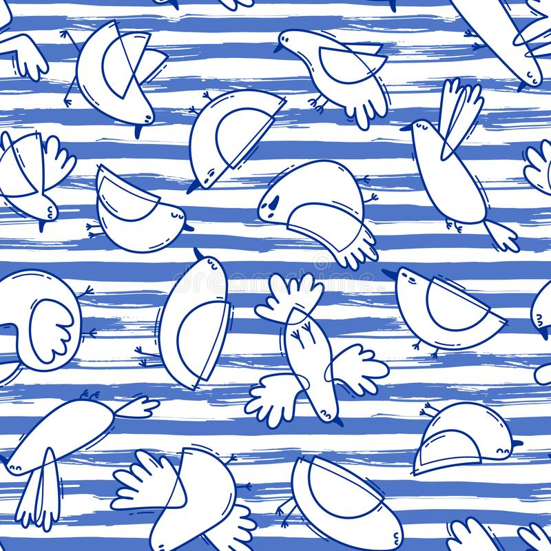 Modèle sans couture avec les oiseaux abstraits sur le fond rayé Ligne simple conception Mouettes drôles dans le style marin illustration libre de droits