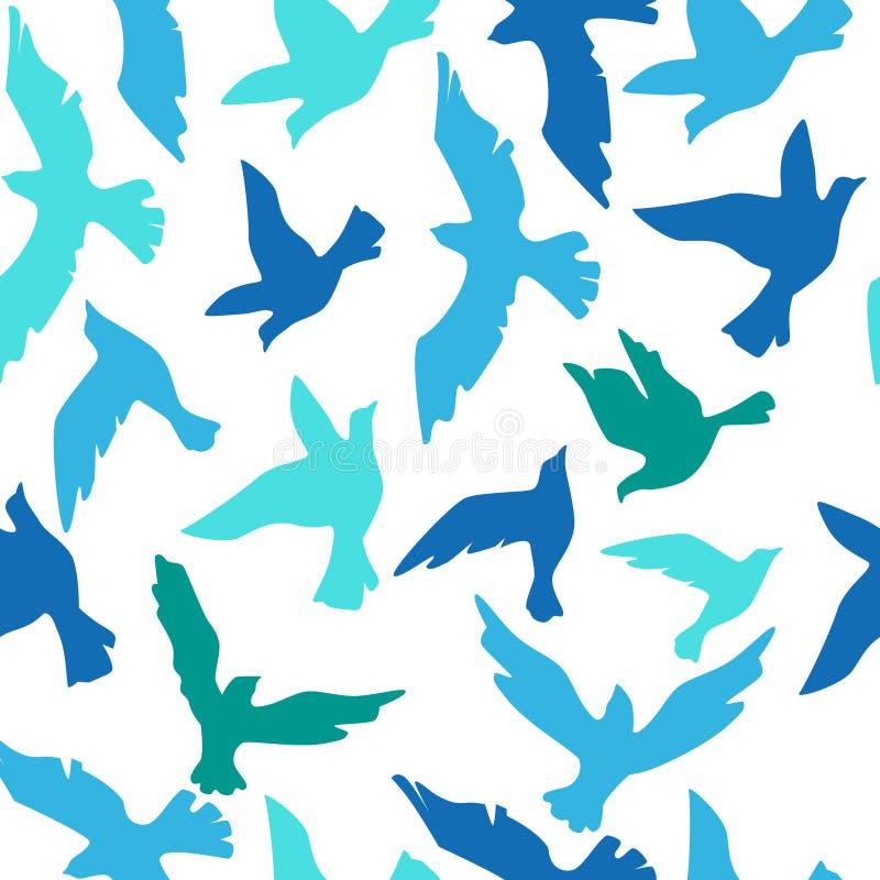Modèle sans couture avec les oiseaux colorés sur le fond blanc illustration stock