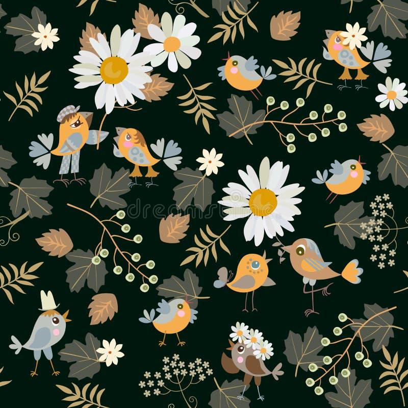 Modèle sans couture avec les oiseaux drôles dans l'amour, les baies de cerise d'oiseau, les marguerites et les feuilles sur le fo illustration stock