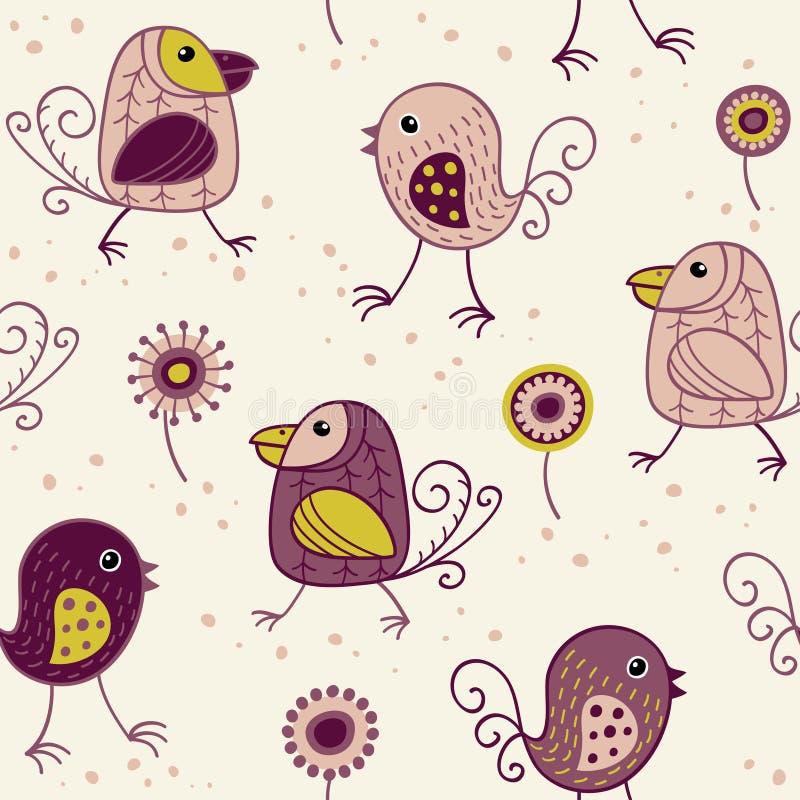 Modèle sans couture avec les oiseaux et les fleurs drôles dans le style scandinave illustration de vecteur