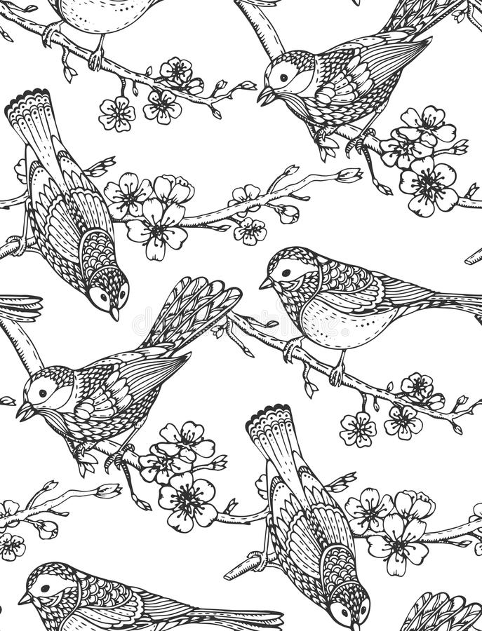 Modèle sans couture avec les oiseaux fleuris tirés par la main sur la fleur de Sakura illustration de vecteur