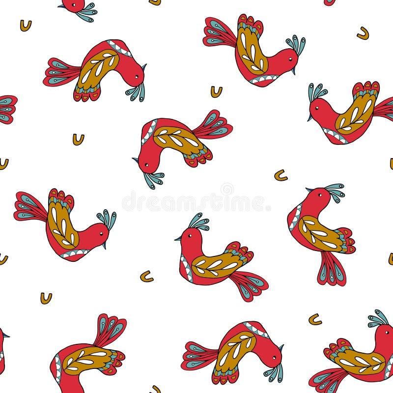 Modèle sans couture avec les oiseaux folkloriques illustration stock