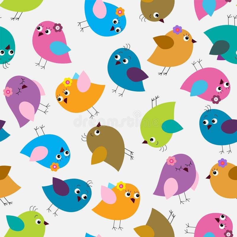 Modèle sans couture avec les oiseaux mignons lumineux illustration de vecteur