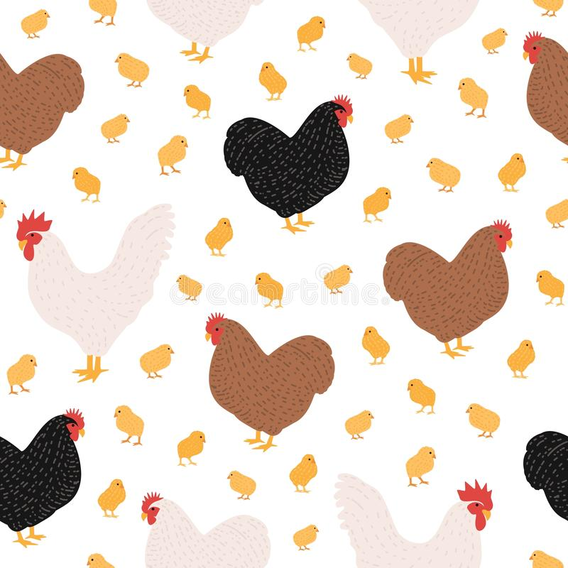 Modèle sans couture avec les oiseaux ou la volaille domestiques de ferme sur le fond blanc - coq et poulet, coq, poule et poussin illustration de vecteur