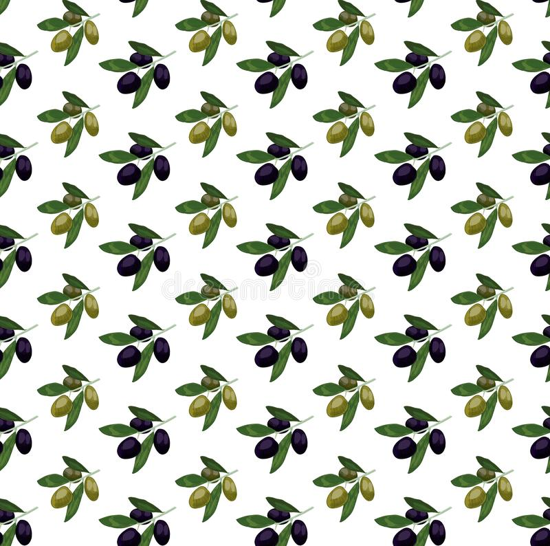 Modèle sans couture avec les olives colorées Branche d'olivier tirée par la main Illustration de VECTEUR, olives illustration stock