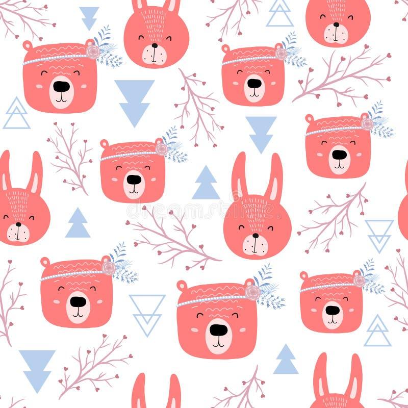 Modèle sans couture avec les ours et les lapins mignons - boho Texture scandinave de style pour le tissu, s'enveloppant, textile, photo libre de droits
