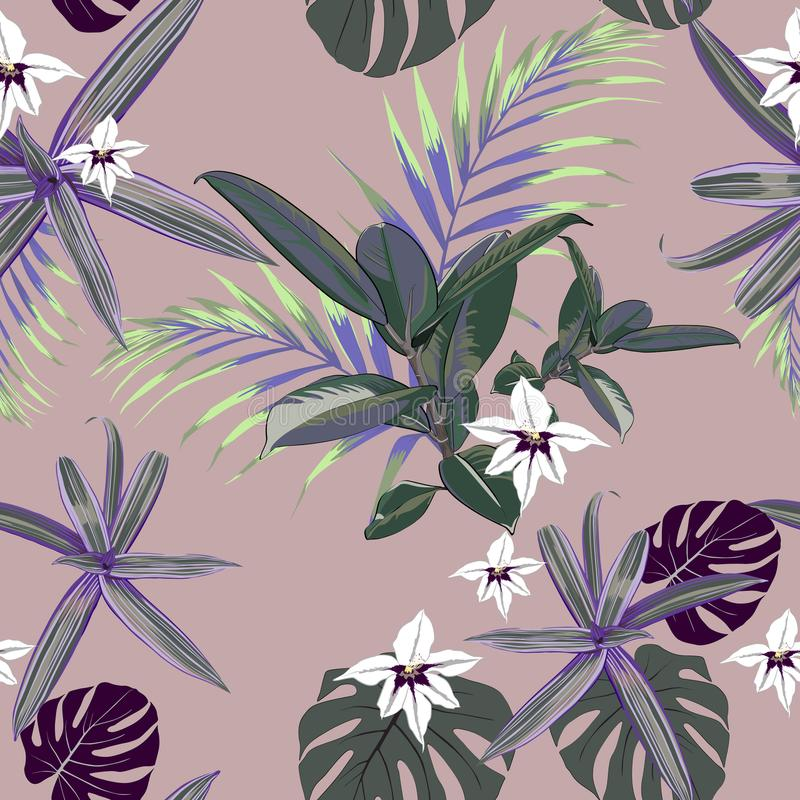 Modèle sans couture avec les paumes tropicales exotiques Plantes tropicales vertes et violettes sur le fond rose illustration libre de droits
