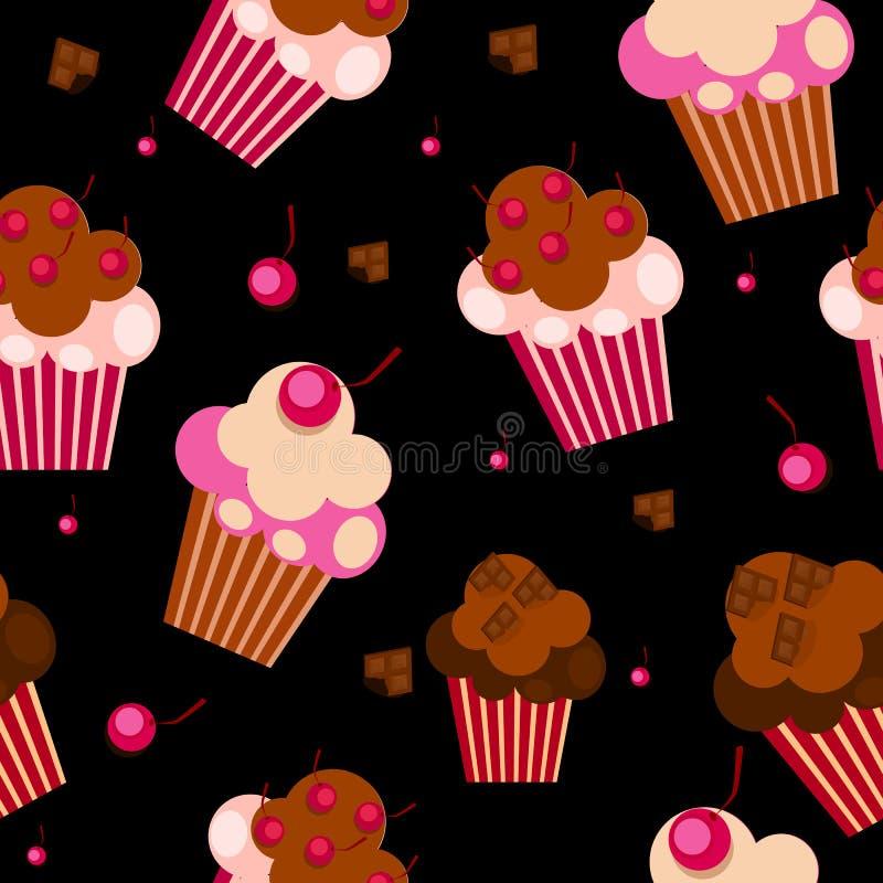 Modèle sans couture avec les petits gâteaux mignons, vecteur illustration libre de droits