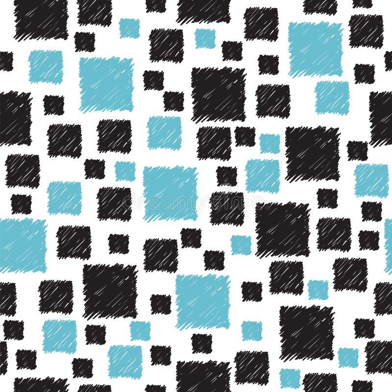 Modèle sans couture avec les places abstraites bleues et noires tirées par la main illustration de vecteur