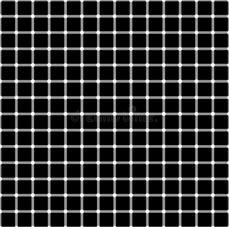 Modèle sans couture avec les places blanches noires L'effet de l'illusion optique Fond illusoire de vecteur, texture illustration libre de droits