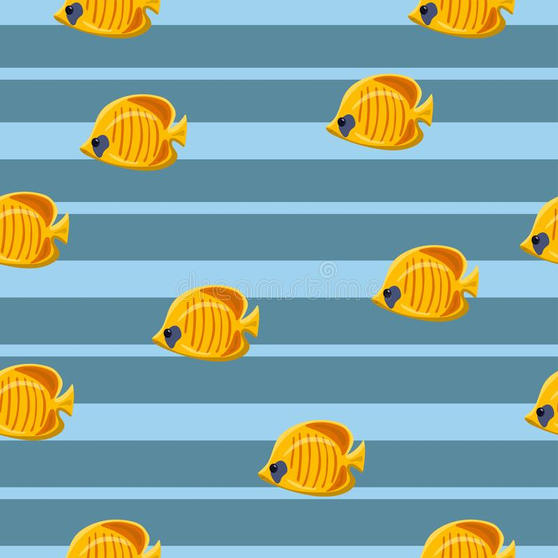 Modèle sans couture avec les poissons de mer tropicaux jaunes sur le fond bleu Illustration de vecteur illustration de vecteur