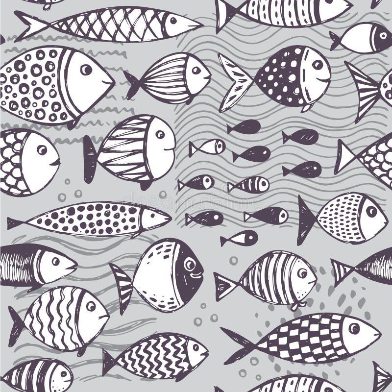 Modèle sans couture avec les poissons drôles tirés par la main dans le style de croquis illustration stock
