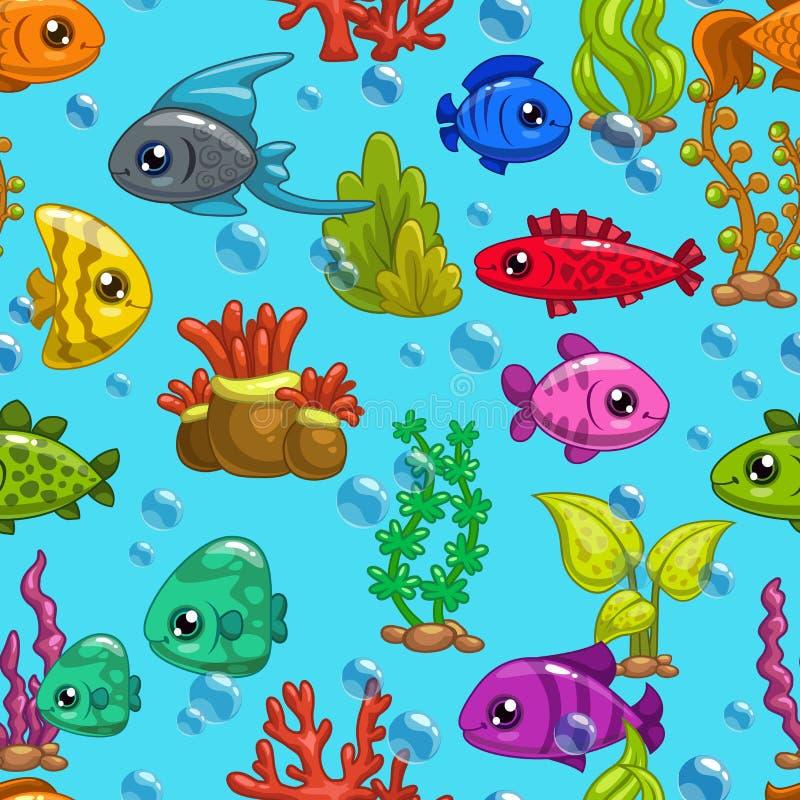 Modèle sans couture avec les poissons mignons de bande dessinée illustration de vecteur