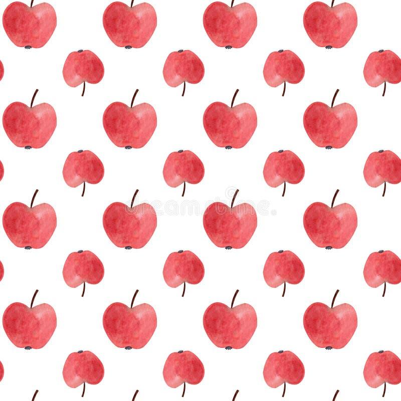 Modèle sans couture avec les pommes rouges d'aquarelle Illustration illustration stock