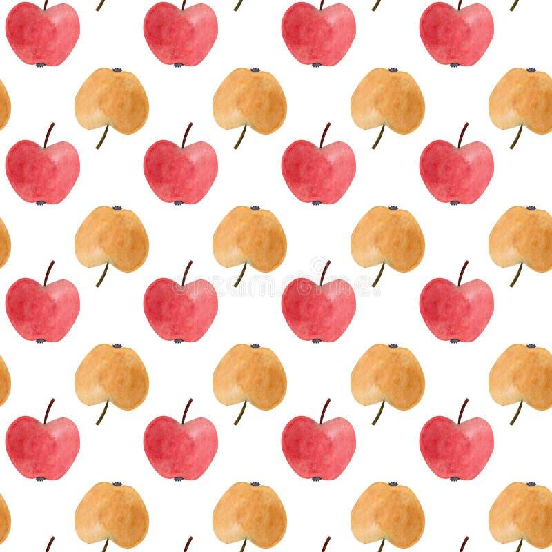 Modèle sans couture avec les pommes rouges et jaunes d'aquarelle Illustration illustration stock