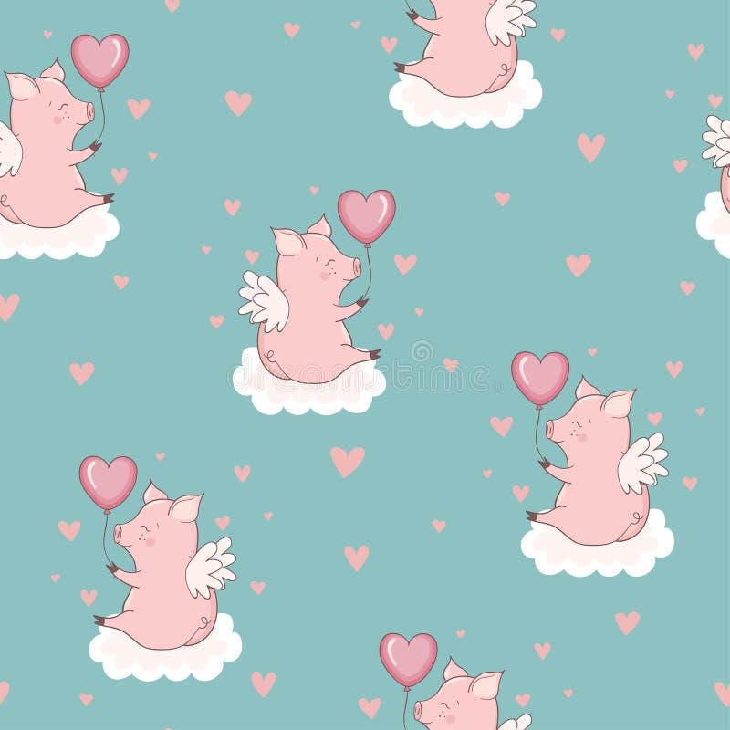 Modèle sans couture avec les porcs mignons de cupidon sur les nuages illustration libre de droits