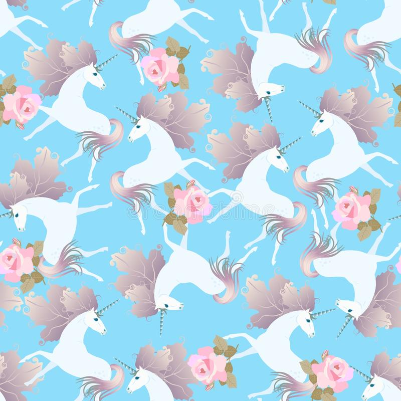 Modèle sans couture avec les roses roses douces et les licornes mignonnes avec des crinières dans la forme des feuilles de viburn illustration stock