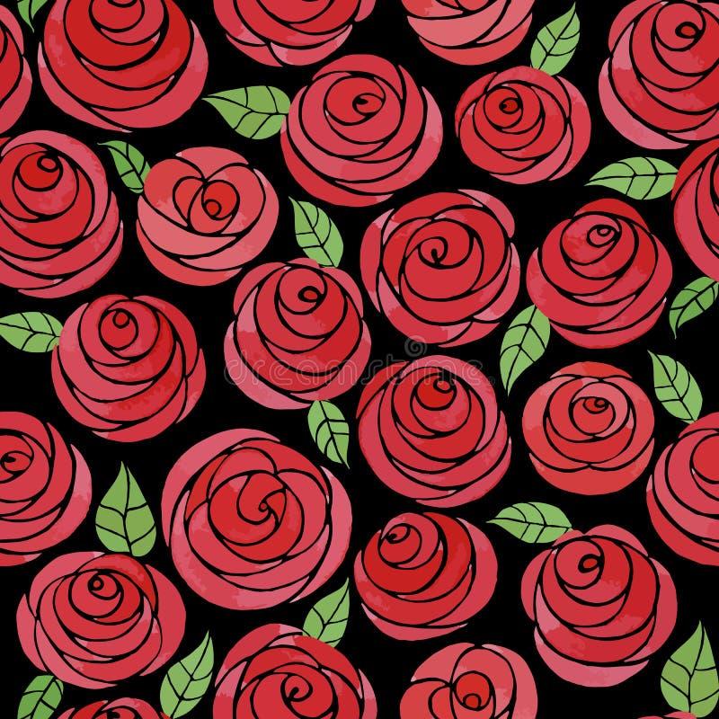 Modèle sans couture avec les roses mignonnes d'aquarelle photos libres de droits
