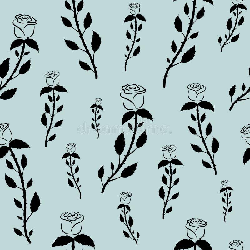 Modèle sans couture avec les roses noires sur un fond gris bleu en pastel illustration de vecteur