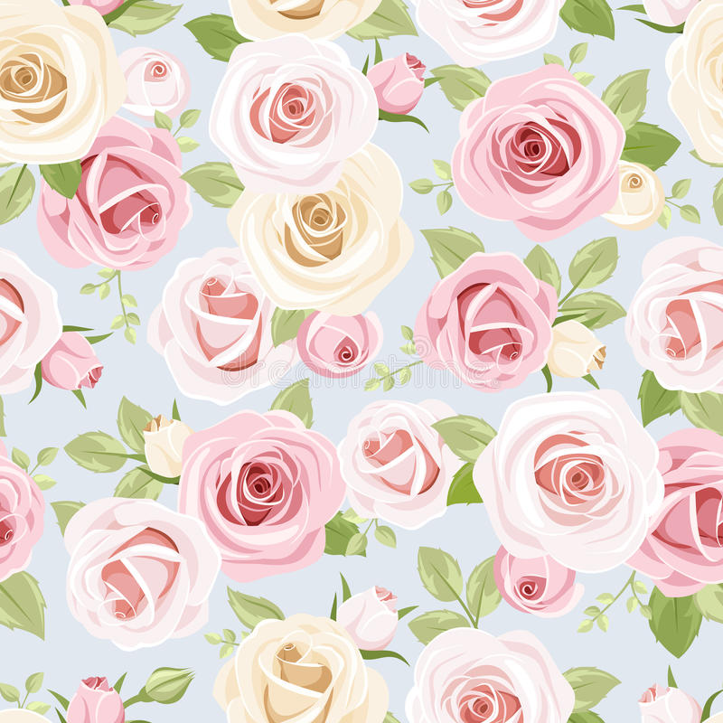 Modèle sans couture avec les roses roses et blanches sur le bleu Illustration de vecteur illustration stock
