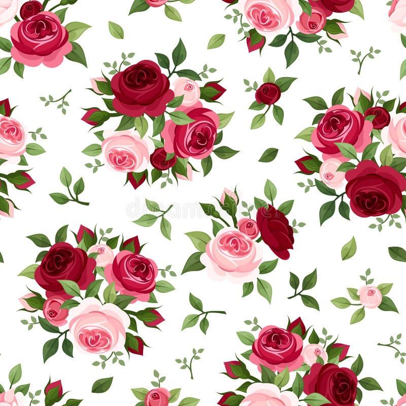 Modèle sans couture avec les roses rouges et roses. illustration stock