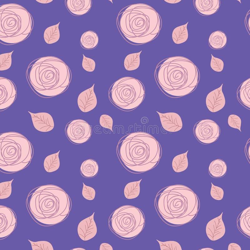 Modèle sans couture avec les roses sensibles sur un fond bleu-foncé illustration stock