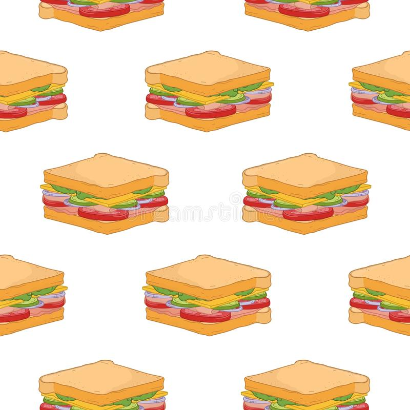 Modèle sans couture avec les sandwichs délicieux sur le fond blanc Repas de rapide appétissant savoureux pour le déjeuner ou le d illustration de vecteur