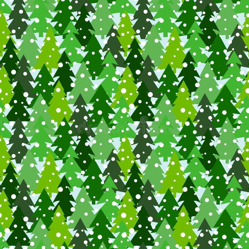 Modèle sans couture avec les silhouettes vertes des sapins et des pins Fond de forêt d'hiver avec des chutes de neige illustration libre de droits
