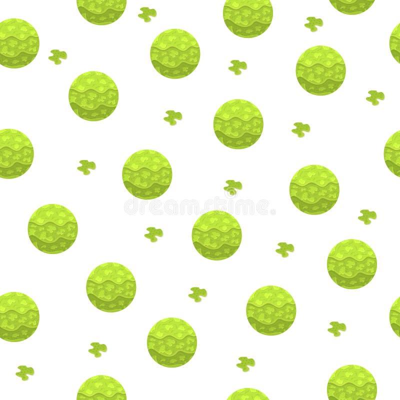 Modèle sans couture avec les sphères magiques Boule abstraite verte Effet de papier Illustration de vecteur pour la conception, p illustration libre de droits