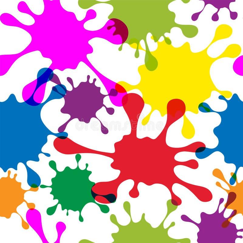 Modèle sans couture avec les taches multicolores, fond blanc Couleurs al?atoires modernes illustration libre de droits