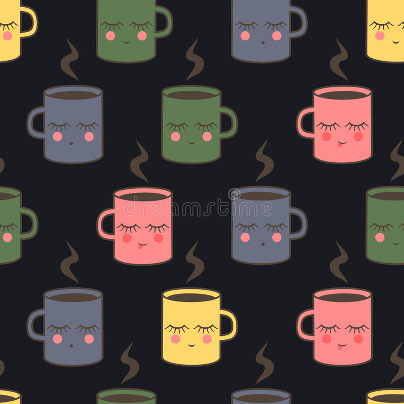 Modèle sans couture avec les tasses de sourire mignonnes de sommeil Fond mignon de tasse de vecteur de fête de naissance illustration de vecteur
