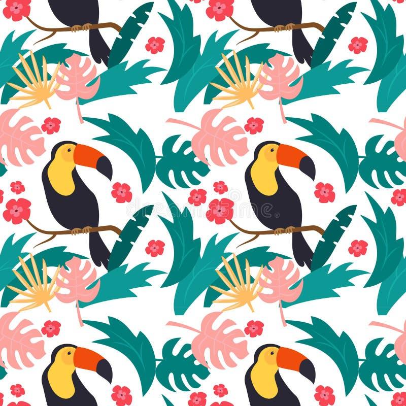 Modèle sans couture avec les toucans colorés photographie stock libre de droits