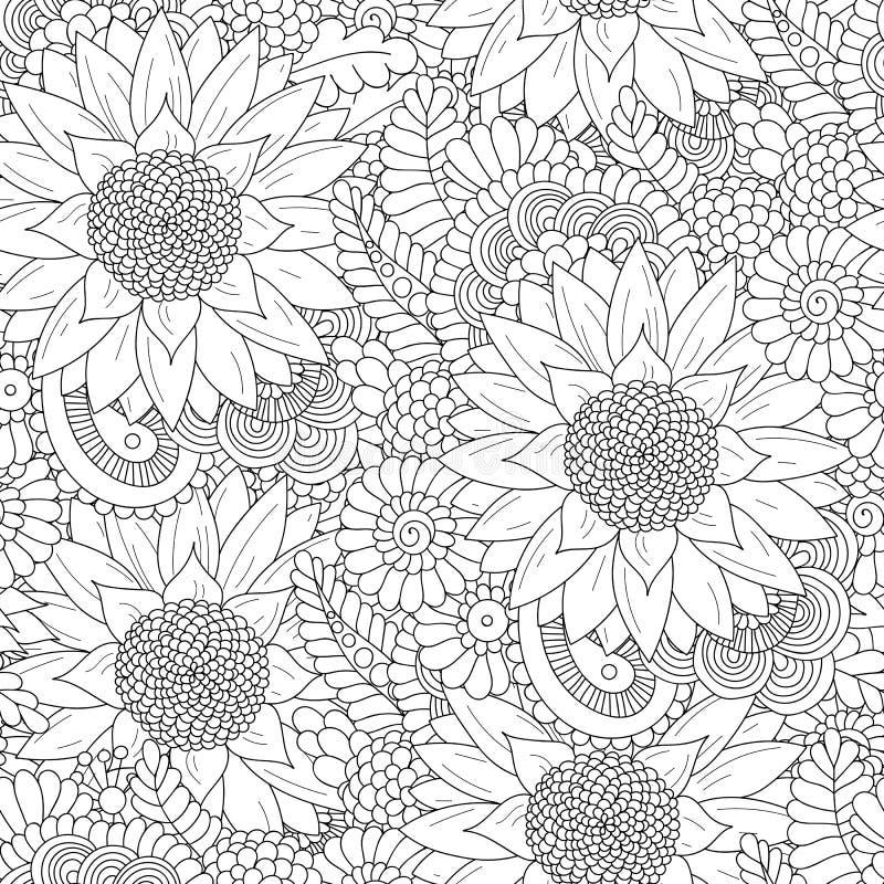 Modèle sans couture avec les tournesols noirs et blancs illustration de vecteur