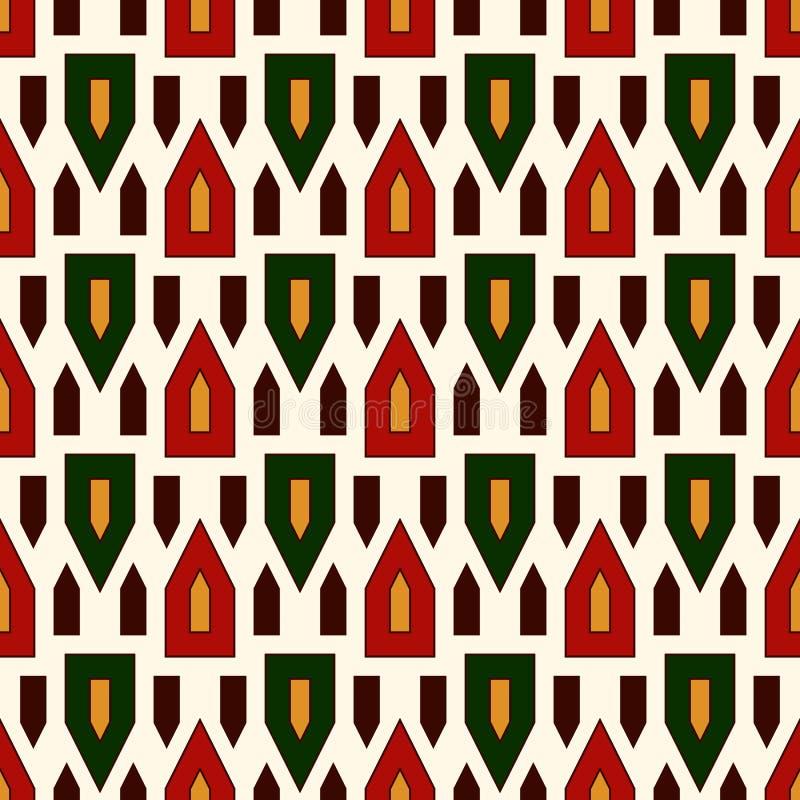 Modèle sans couture avec les triangles stylisées lumineuses sur le fond blanc Chiffres géométriques répétés papier peint illustration de vecteur