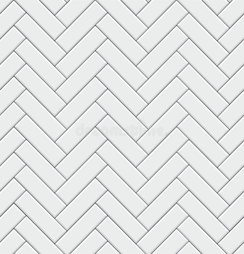Modèle sans couture avec les tuiles blanches en arête de poisson rectangulaires modernes Texture diagonale réaliste Illustration  illustration de vecteur