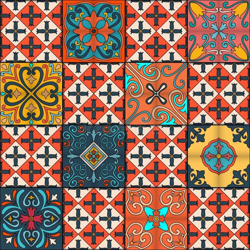 Modèle sans couture avec les tuiles portugaises dans le style de talavera Azulejo, Marocain, ornements mexicains illustration de vecteur