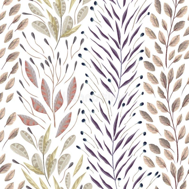 Modèle sans couture avec les usines, les feuilles et l'algue marines illustration de vecteur