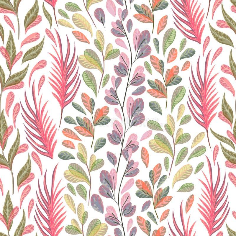 Modèle sans couture avec les usines, les feuilles et l'algue marines Flore marine tirée par la main dans le style d'aquarelle illustration stock