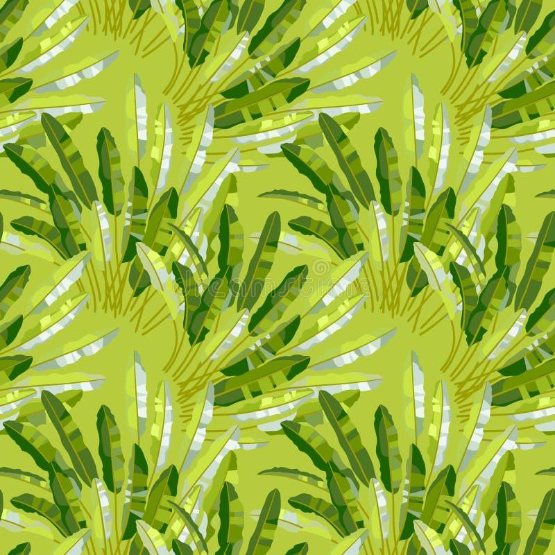 Modèle sans couture avec les usines tropicales illustration libre de droits