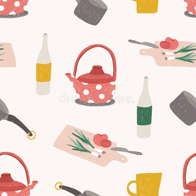 Modèle sans couture avec les ustensiles colorés de cuisine, le cookware, les outils pour le traitement des denrées alimentaires d illustration libre de droits