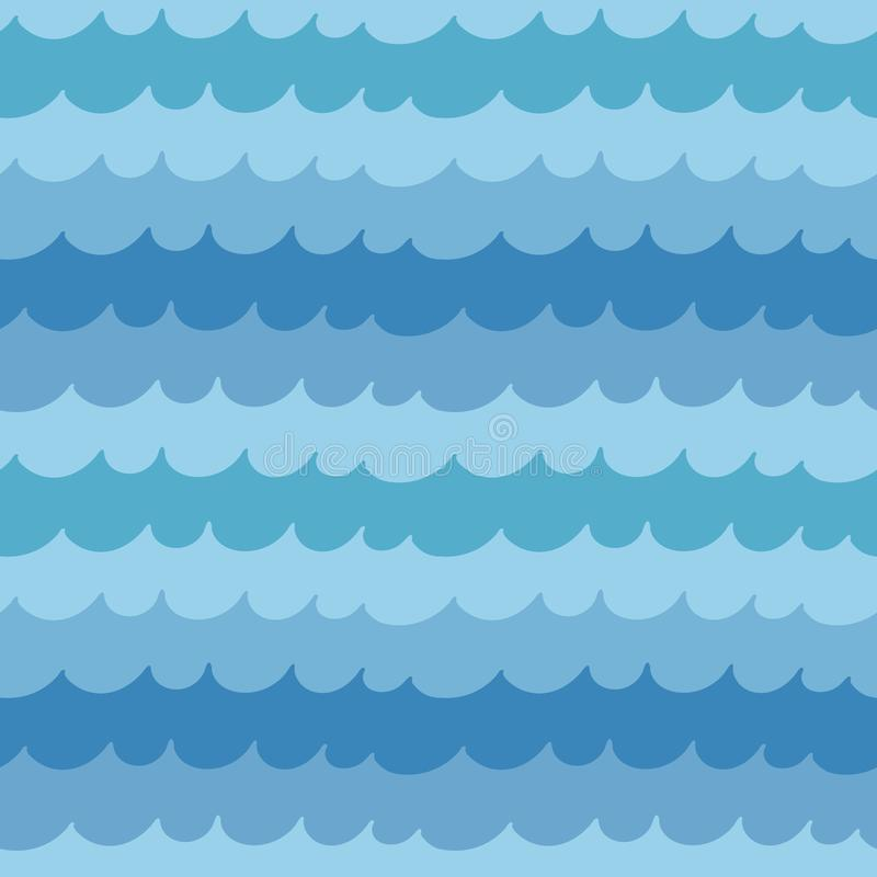 Modèle sans couture avec les vagues lumineuses de mer illustration stock