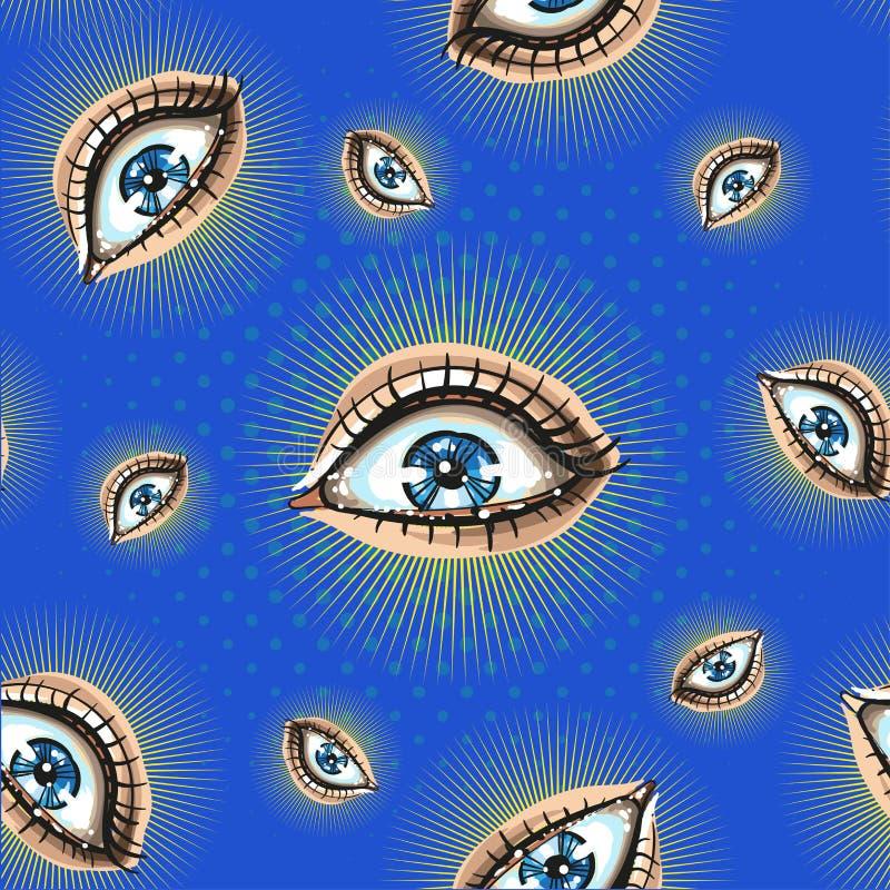 Modèle sans couture avec lumineux grand ouvert de yeux rampants sur le bleu avec l'image tramée illustration libre de droits