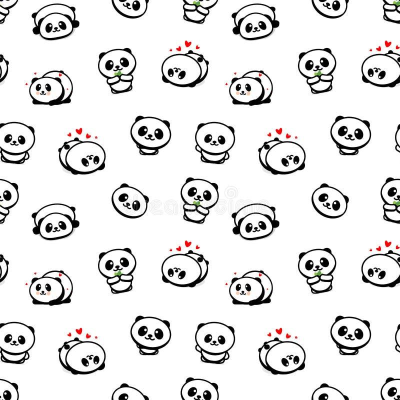 Modèle sans couture avec Panda Asian Bear Vector Illustrations mignon, collection d'éléments simples de texture d'animaux chinois illustration stock