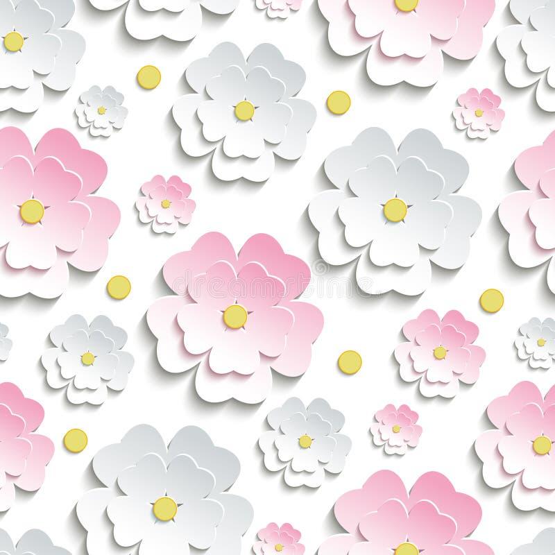 Modèle sans couture avec Sakura rose et blanc illustration stock