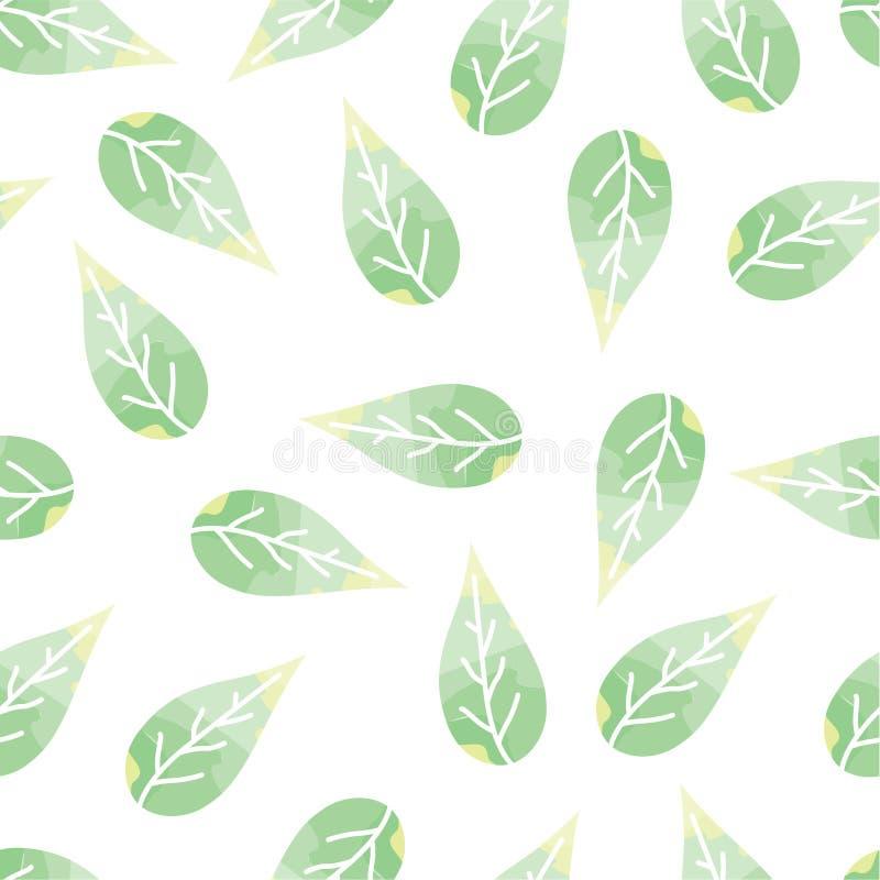 Modèle sans couture avec sensible, feuilles de vert illustration stock