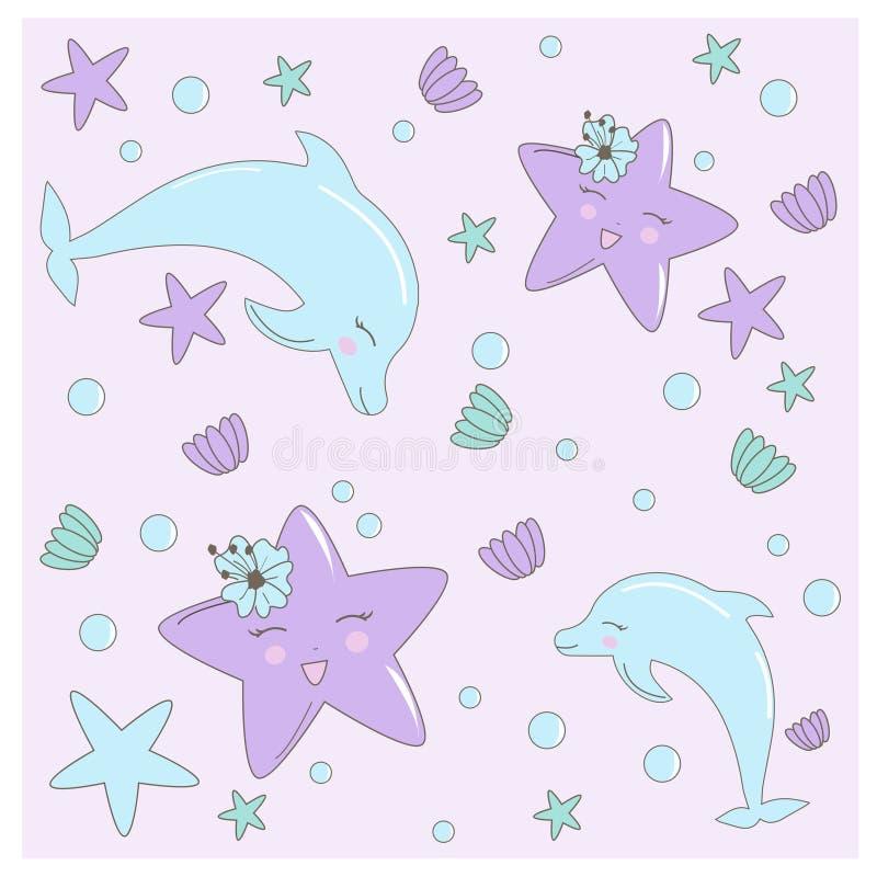 Modèle sans couture avec tiré par la main avec l'étoile, les fleurs et les coquilles de mer dans des couleurs en pastel Illustrat illustration libre de droits