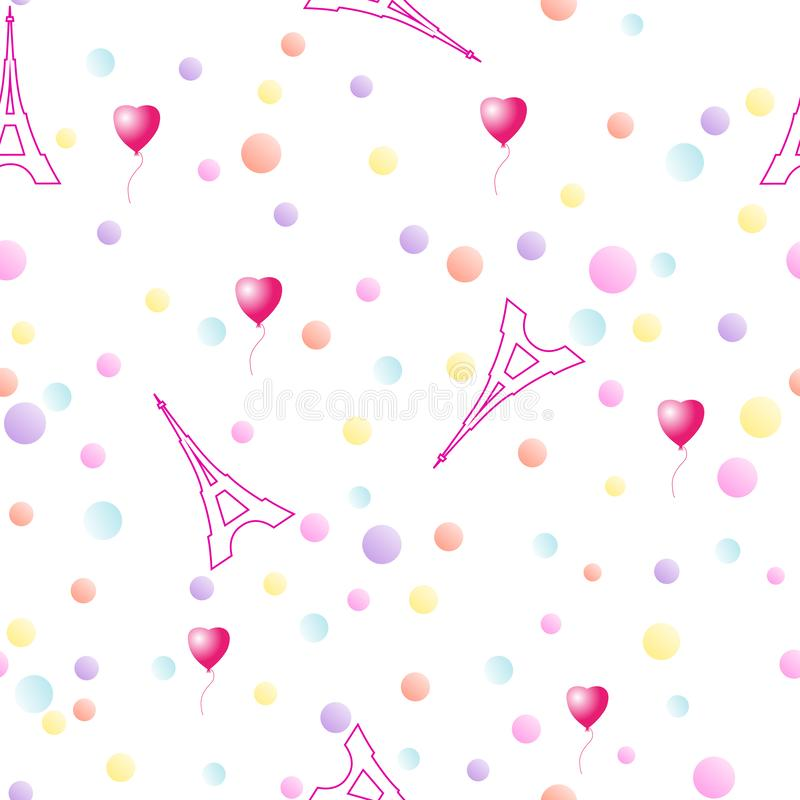 Modèle sans couture avec Tours Eiffel et les confettis multicolores illustration stock